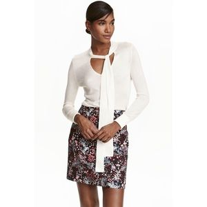 H&M Floral Jacquard Pencil Skirt